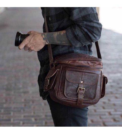 Brown Leather Camera Bag Camera Bag.