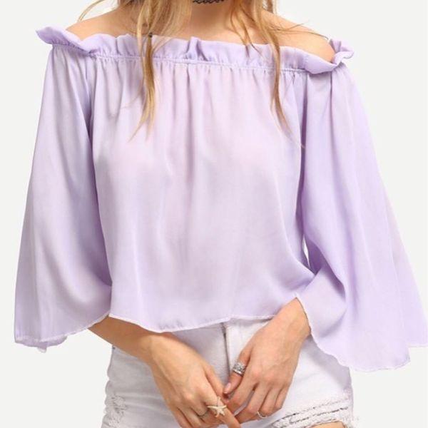 lavender off shoulder top