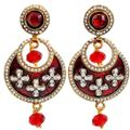 Wedding Kundan Chand Bali Earrings in Maroon for Festivals by Maayra