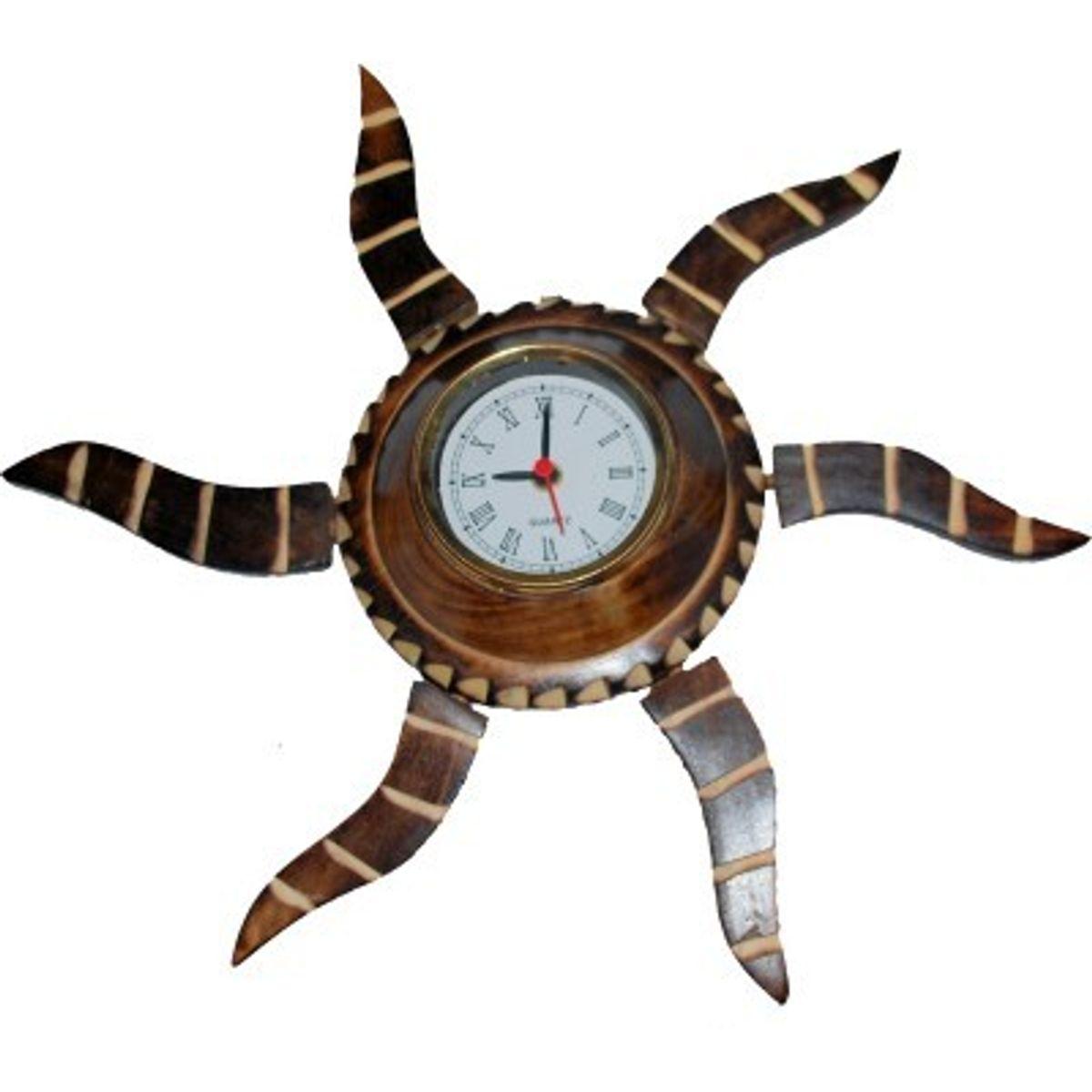 Onlineshoppee Wooden Antique Rising Sun Analog Wall Clock