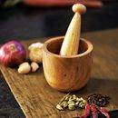 Onlineshoppee Brown Wooden Spice Mortar and Pestle  Size(LxBxH-3.5x3.5x3.9) Inch