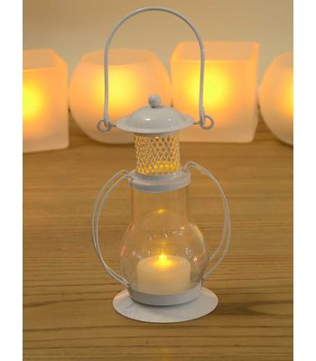 White Amber Glass Vintage Lantern with flameless tea-light candle - 2 x 4 Inches