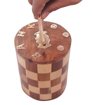 Onlineshoppee Antique Chase Design Wooden Money Bank Size LxBxH-4x4x5 Inch