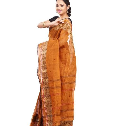 DESIGNER BROWN BENGAL TANT COTTON SAREE
