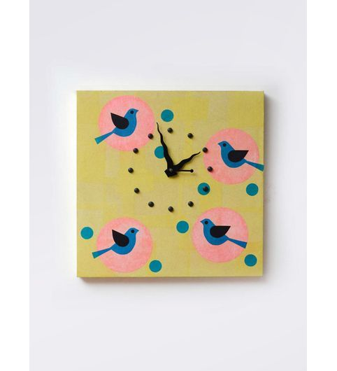 Light Green Wooden Painted Birds Square Clock - 12 x 12 Inches