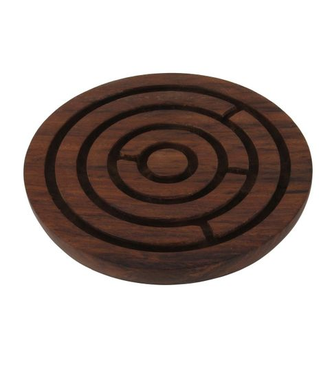 Onlineshoppee Handcrafted Labyrinth Board Game Round Wooden Diameter 5 Inches
