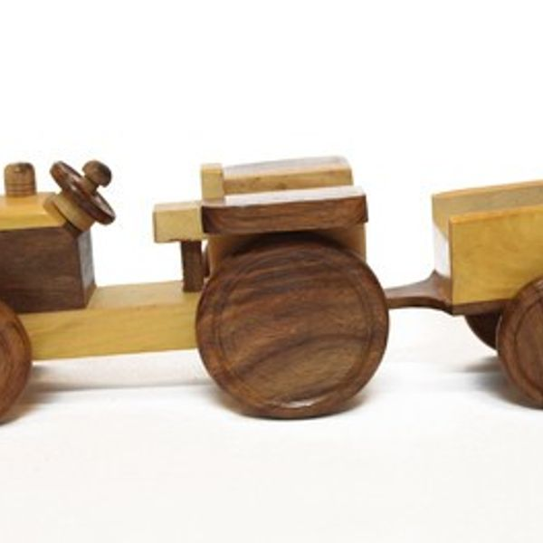 Wooden Toy Tractor With Trolly