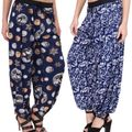 Adonia Women's Poly-Knit Lycra Printed Harem Pants ( Combo of 2 )
