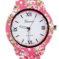 Geneva Pink Floral Dark watch for womens