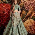 Rozy Fashion Sea Green Sequins Embellished Raw silk Lehenga Choli Dupatta set