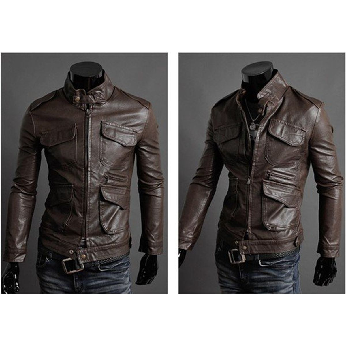 Italiano TUCCI Vintage Slim Fit Padding Style Designer Mens Semi Leather Jacket Brown P016