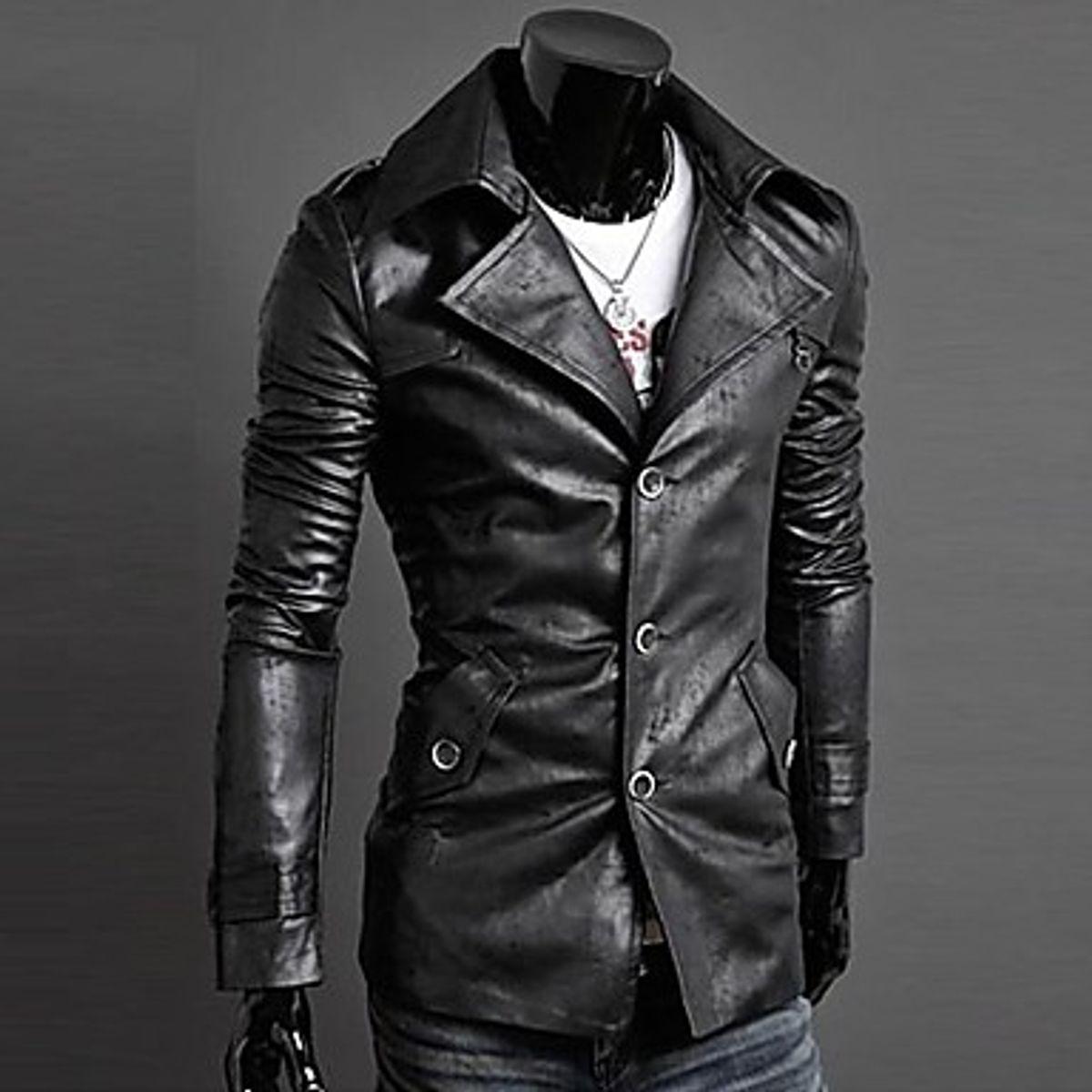 Italiano TUCCI Vintage Slim Fit Padding Style Designer Mens Semi Leather Jacket Black P01
