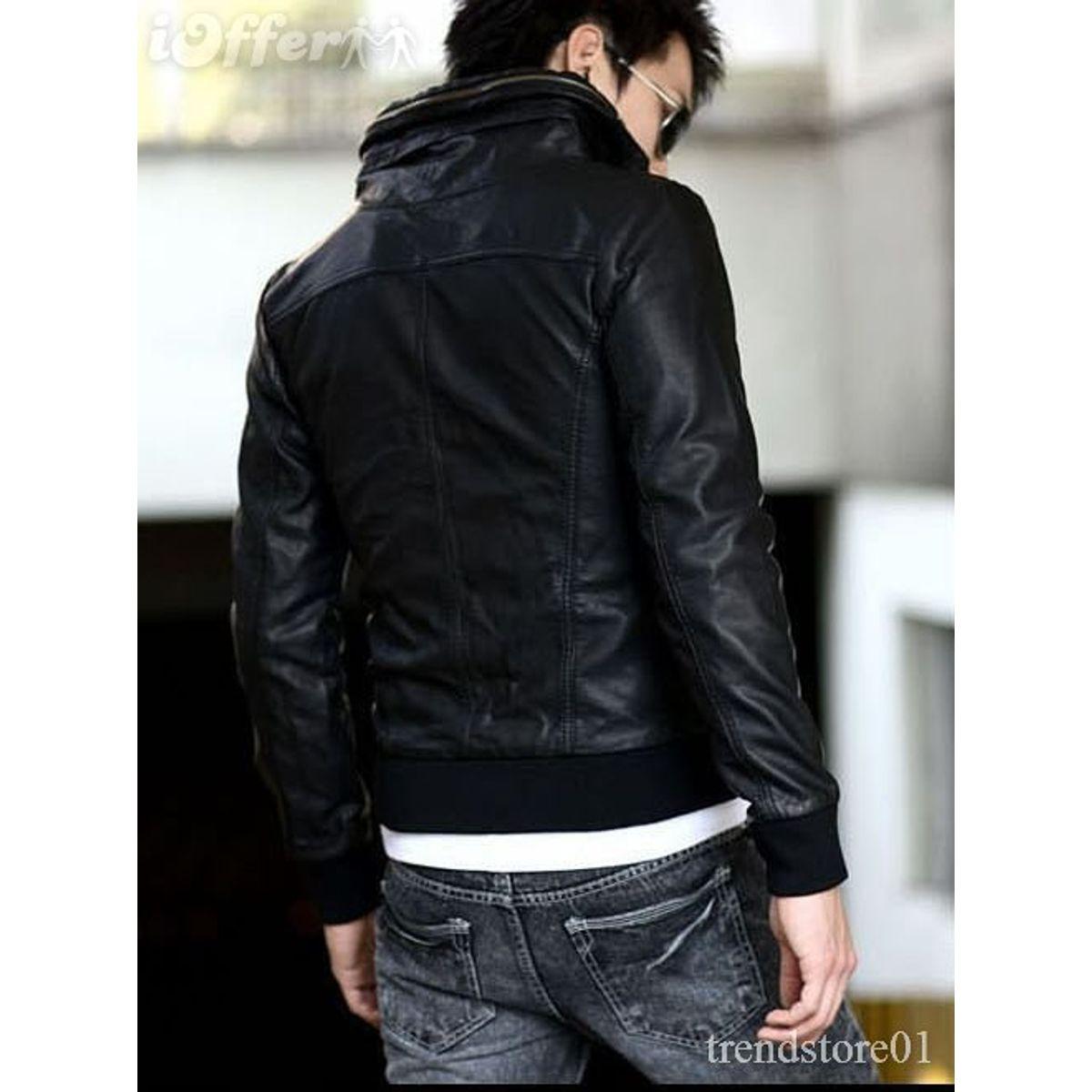 Italiano TUCCI Vintage Slim Fit Padding Style Designer Mens Semi Leather Jacket Black P11