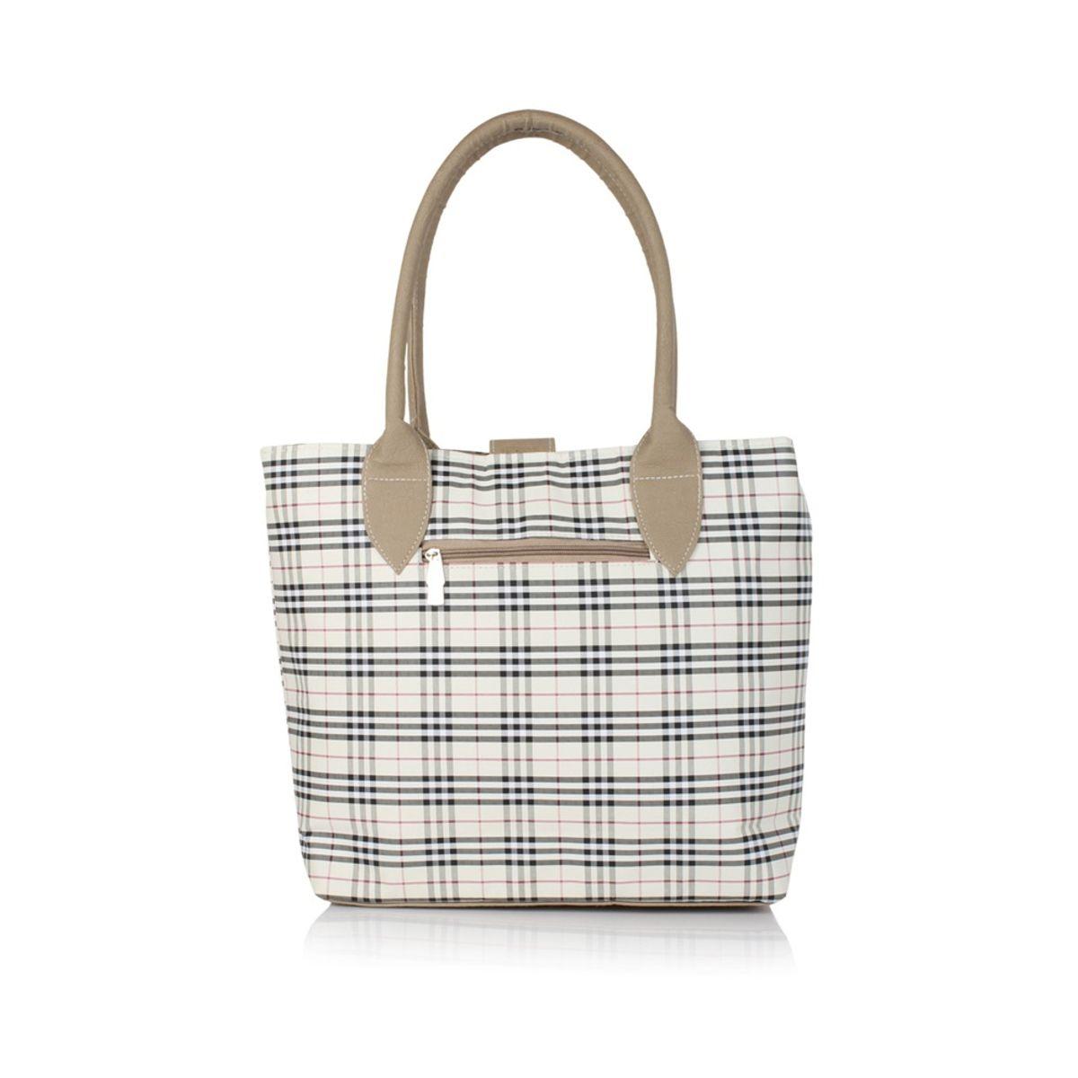 Bellina Check Series Cream Gray Shoulder bag