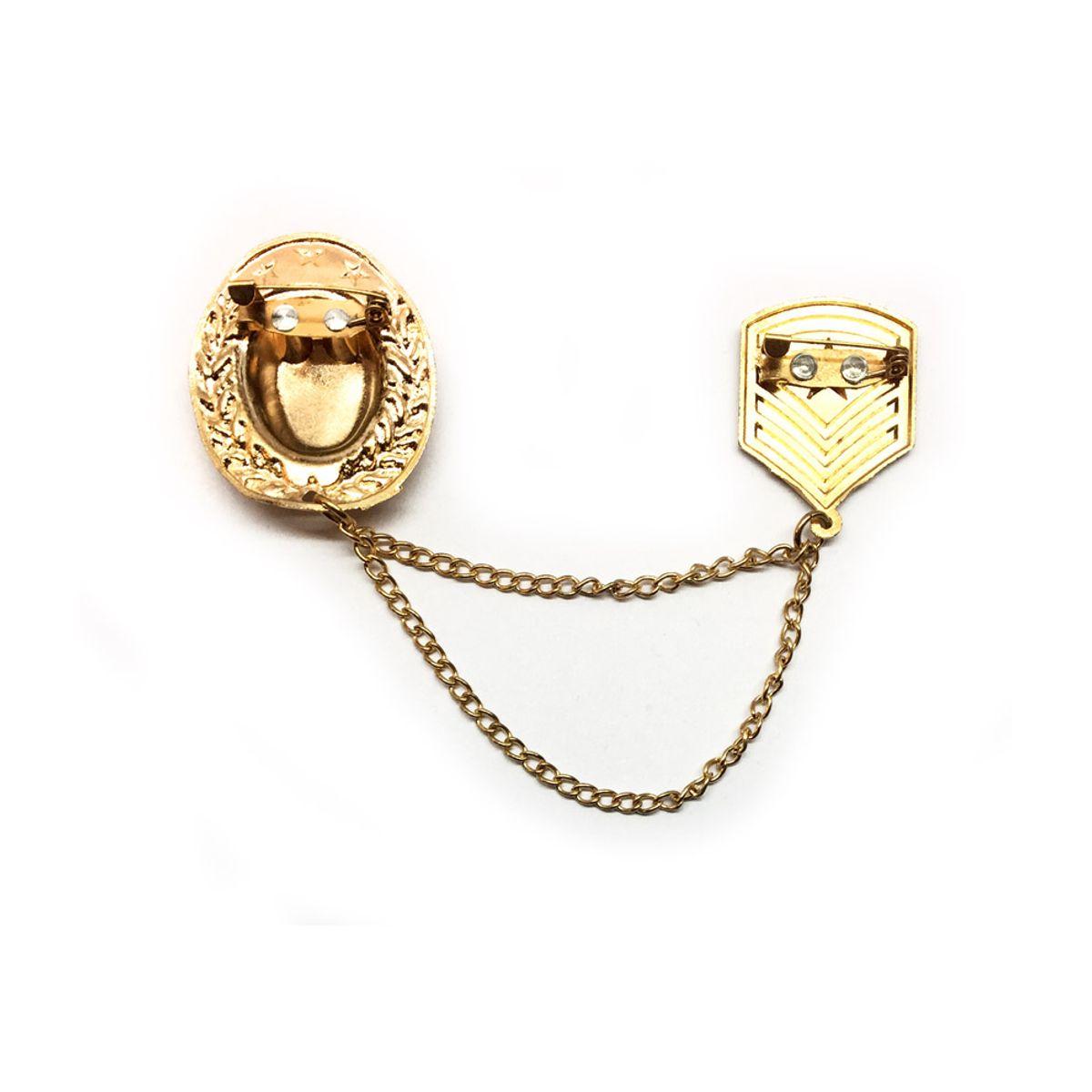Buy Visach Designer Golden Shields with Metal Chain Design Brooch ...