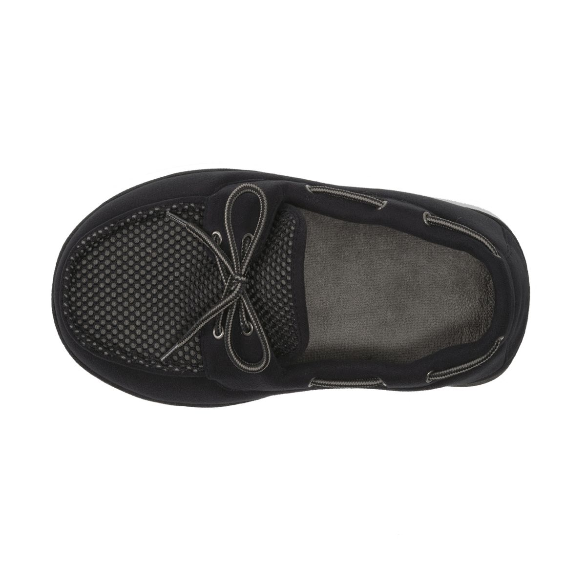 Dearfoams Microfiber Suede Black Boater Moc with Mesh Tab