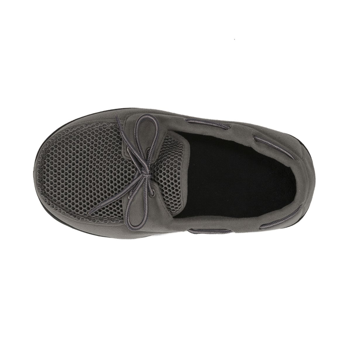 Dearfoams Microfiber Suede Granite Grey Boater Moc with Mesh Tab