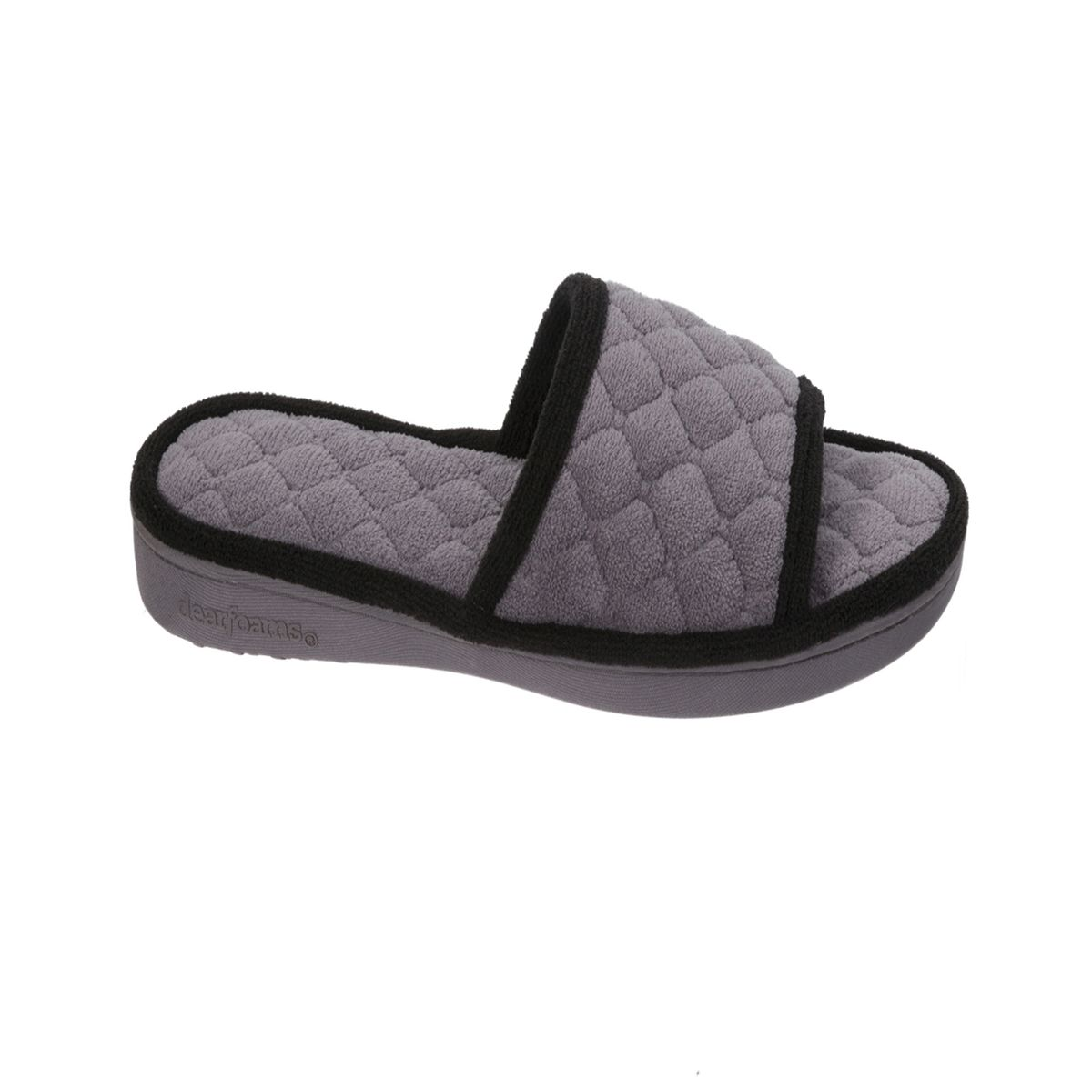 Dearfoams Quilted Terry Grey Excalibur Slide