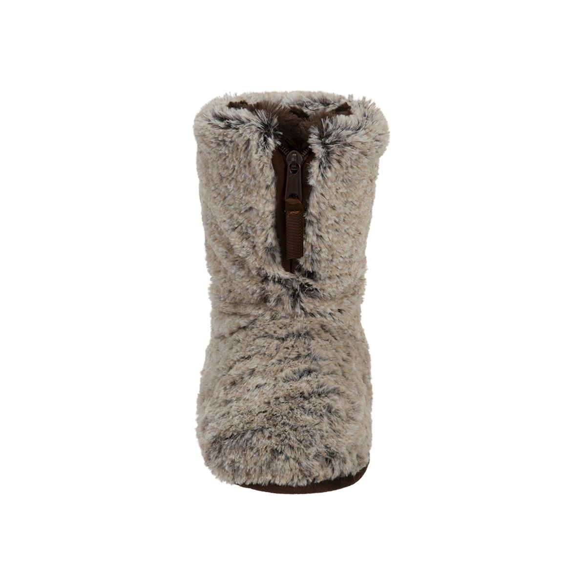 Feelinwow Plush Boot Slipper with Half Zip Brown