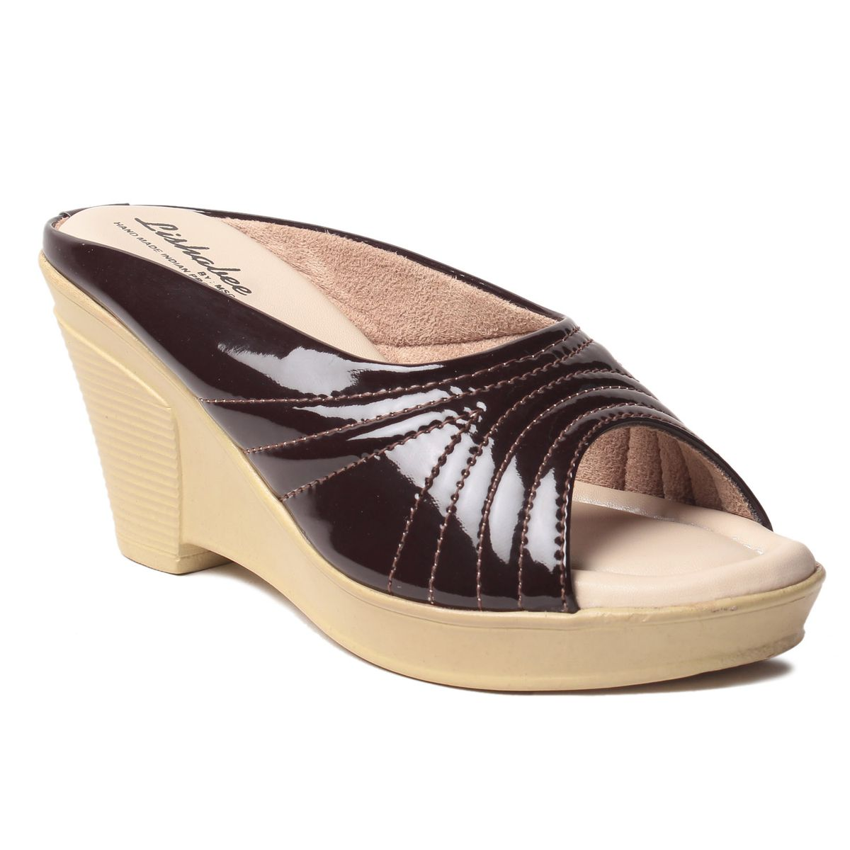 MSC Womens Brown Synthetic Leather Wedges