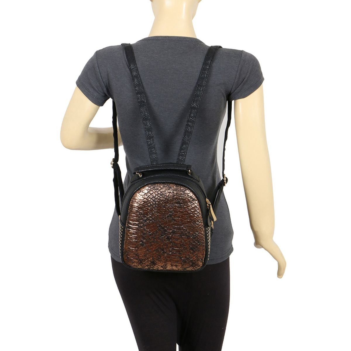 Cappuccino 26007Black-Gold Backpack
