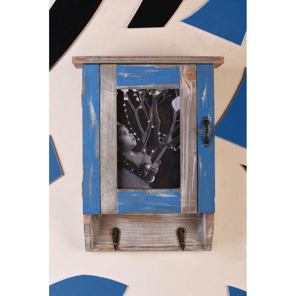 OddCroft Gatekeeper Mounted Keyholder Box with Photo Frame - Lagoon Blue