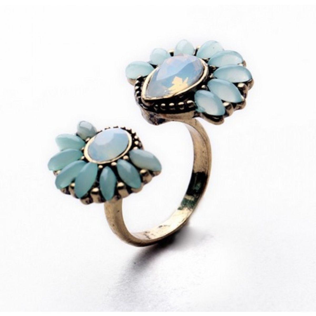 Retro Adjustable Gemstone Flower Cuff Ring