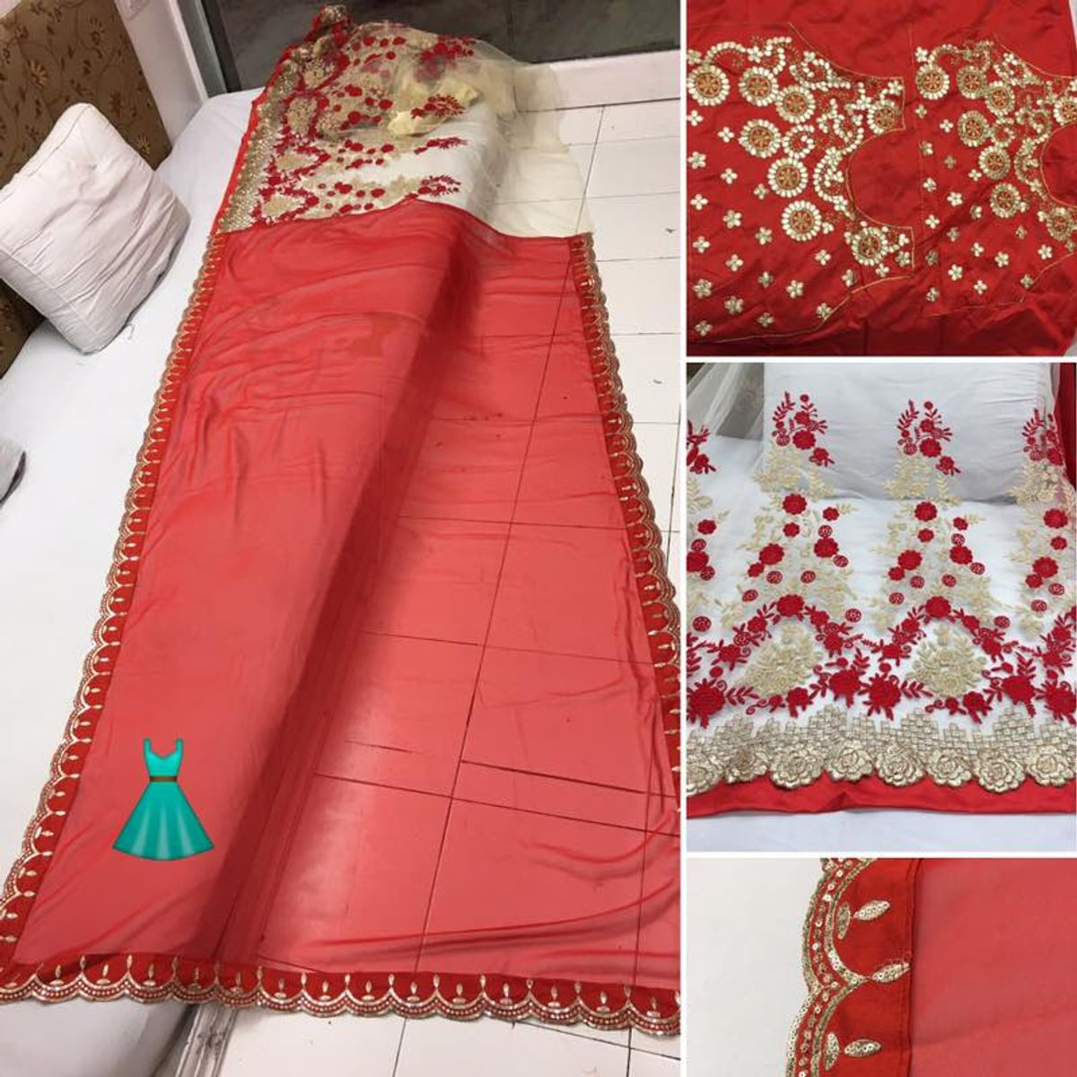 Red colored Pure Georgette Party Wear Saree With Blouse