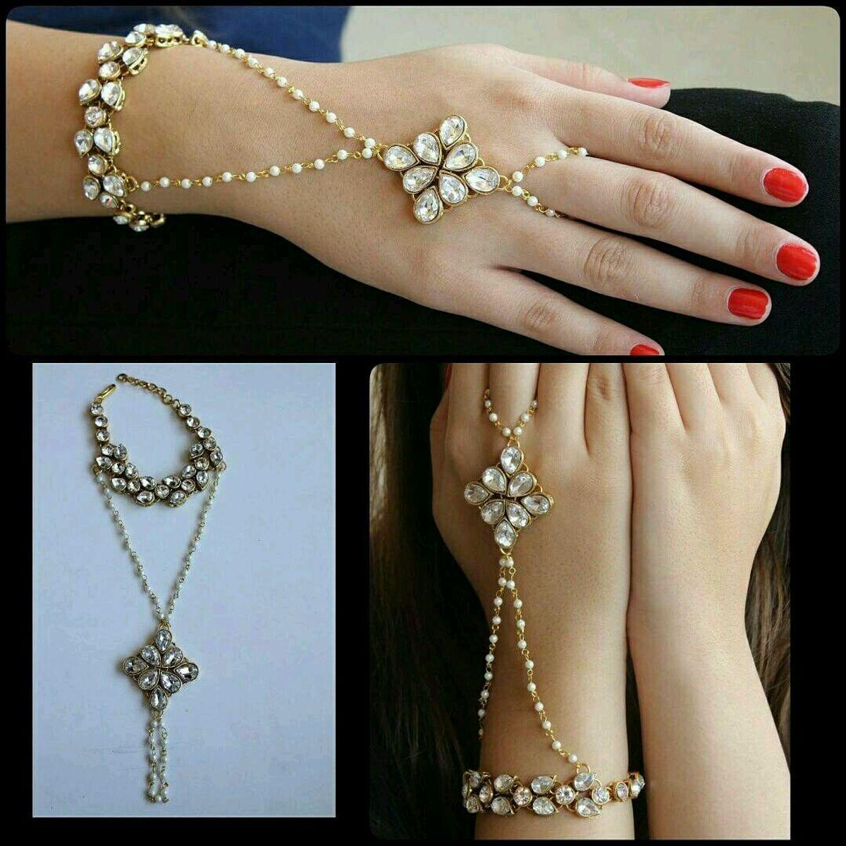 Stone Leaves and Flower Bracelet - Handmade