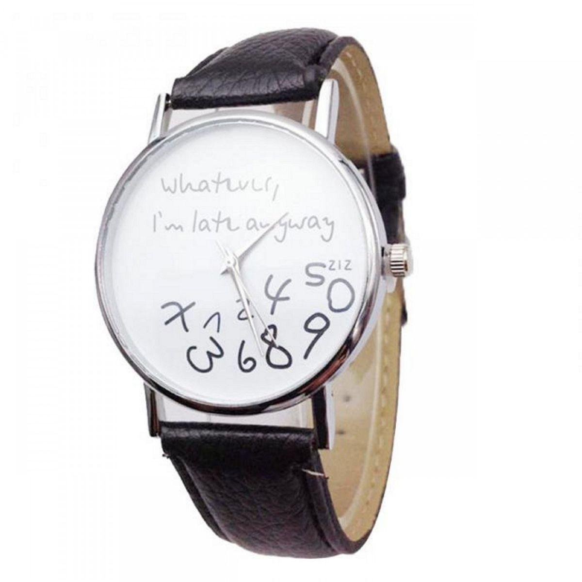 Skylofts PU Leather Wathever I am Late Anyway Wristwatch Men Women Luxury Watch - Black