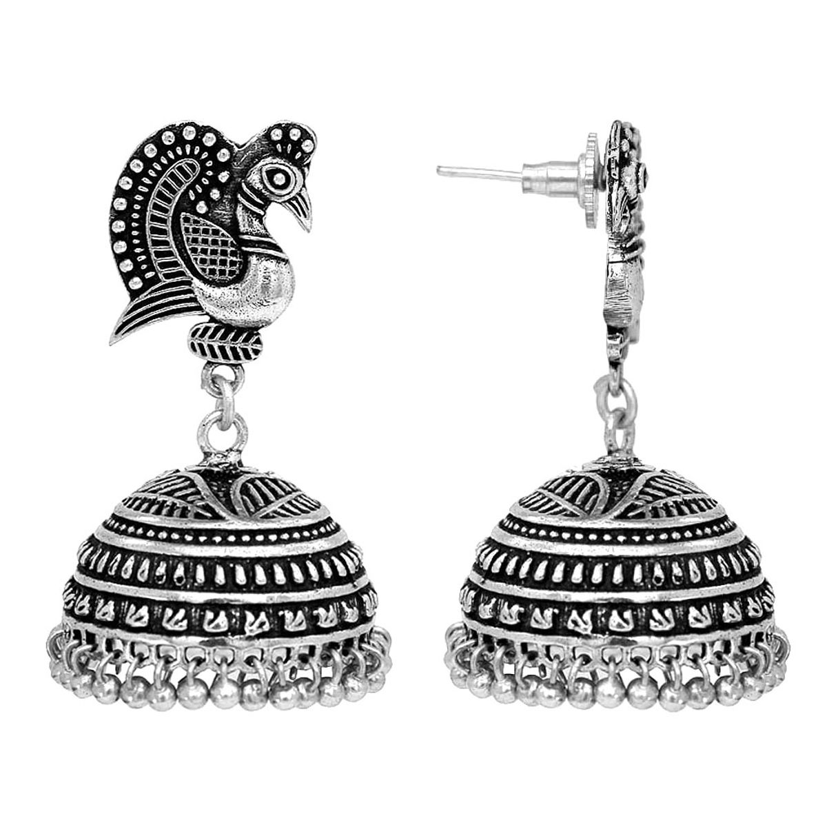 Dancing Peacock Style Black Metal Silver Palted Oxidized Jhumka Jhumki Earrings