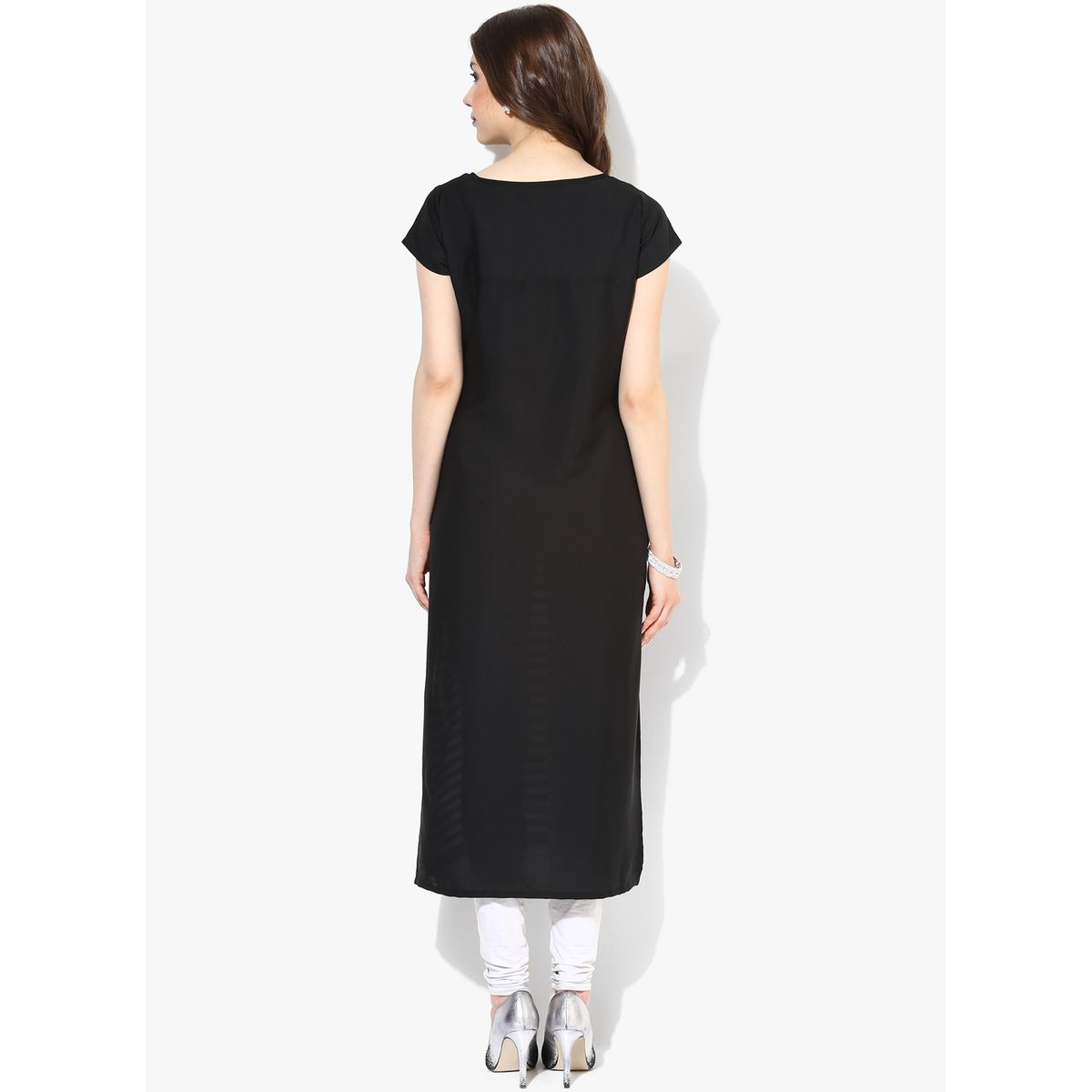 THE BEBO BLACK CREPE PRINTED LONG STRIPED KURTI