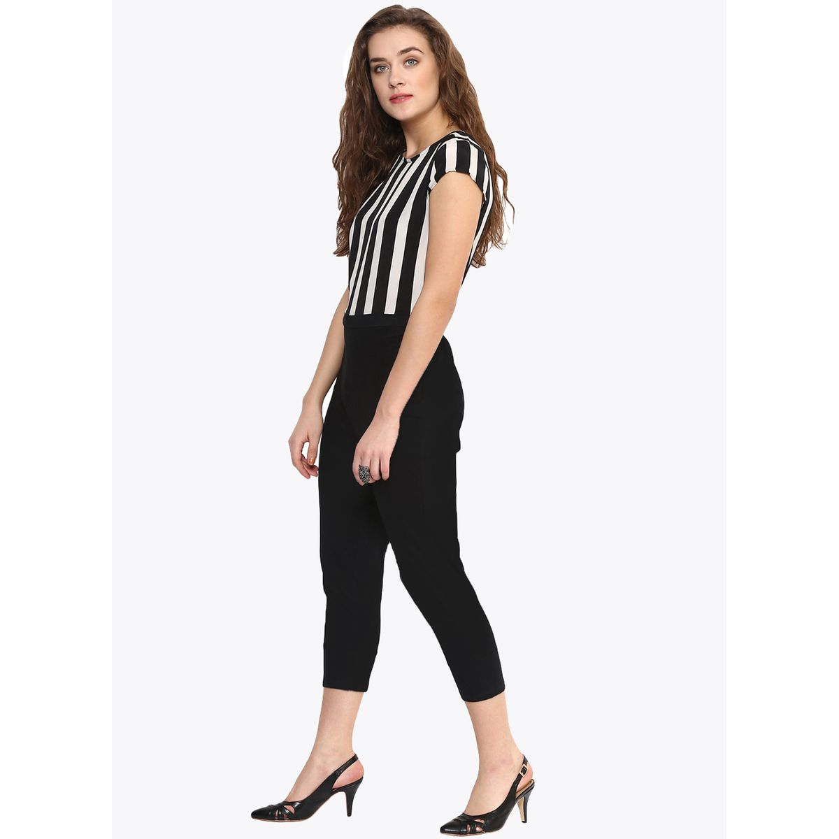 THE BEBO WHITE AND BLACK CREPE ELEGANT JUMPSUITS