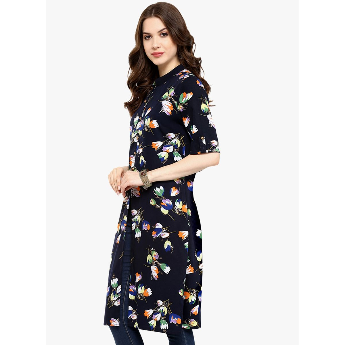 THE BEBO BLUE FLORAL PURE CREPE ELEGANT KURTI