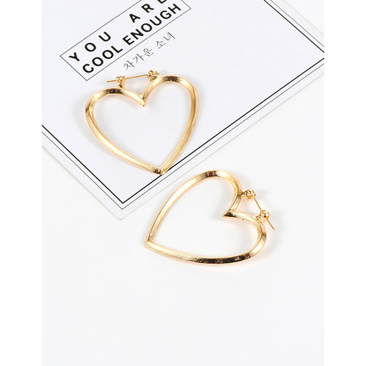 Heart Hoop Earrings- golden
