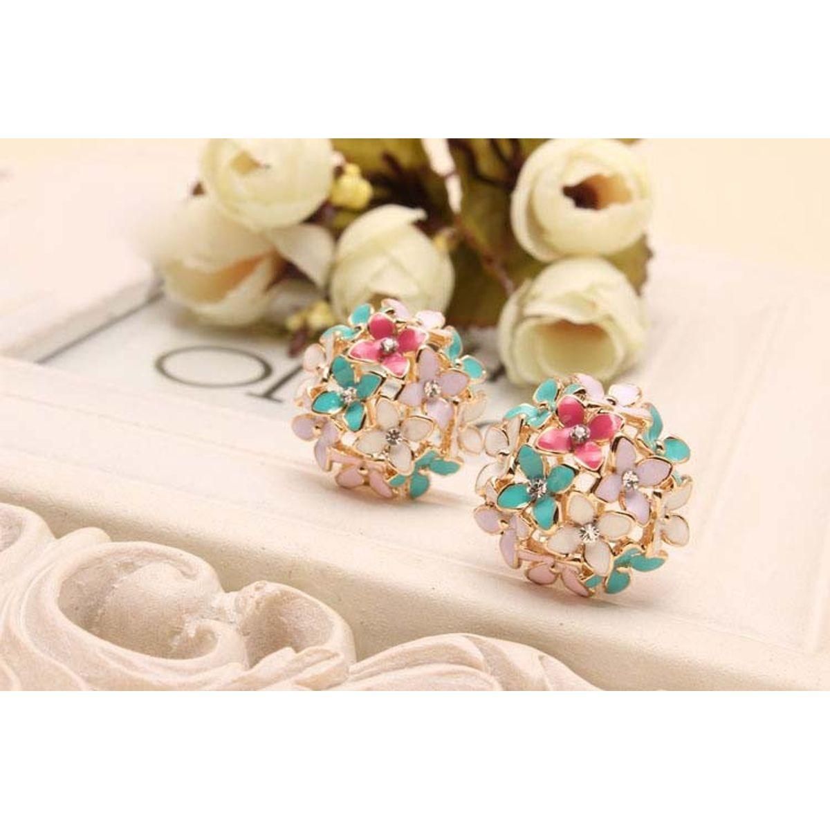 La Perla Floral Pink with Green Enamel Flower Bouquet Stud Earrings