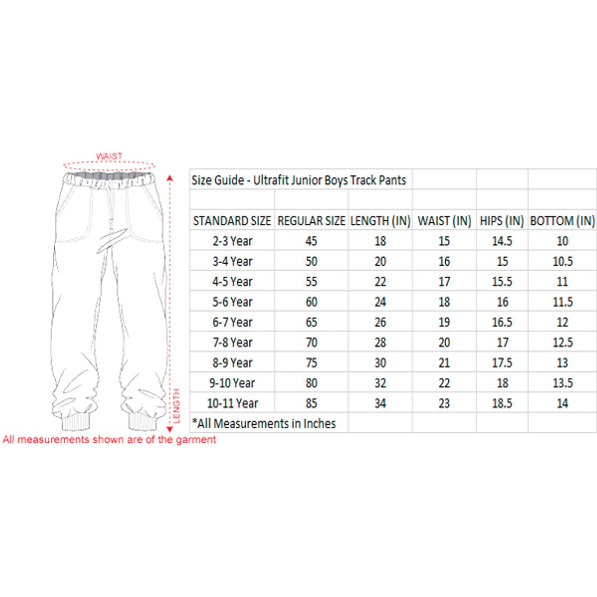 Ultrafit Junior Boys Cotton Red Track Pant254