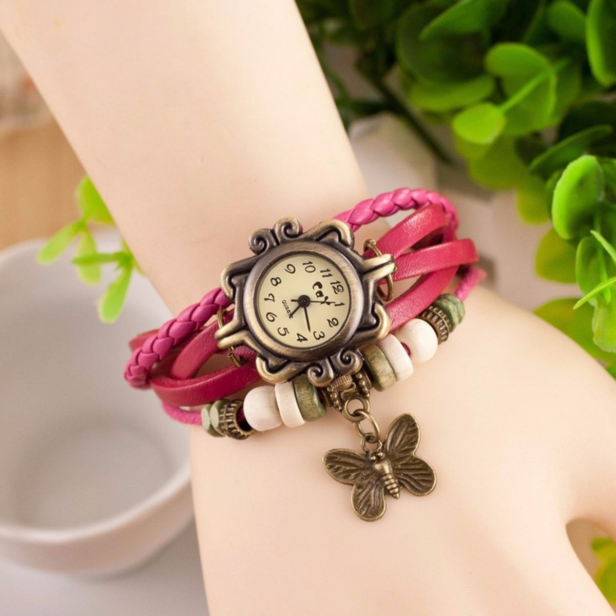 New Vintage Pink Leather Watch For WomenGirls And Leadish