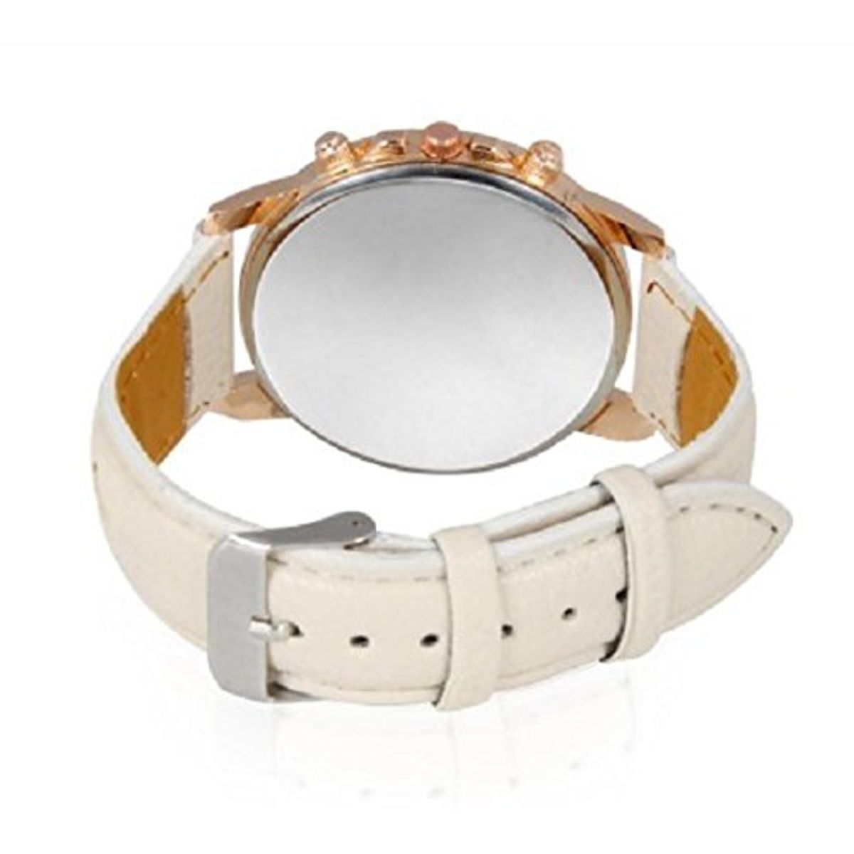 White Lathe Belt And Gold Dial Woman Watch