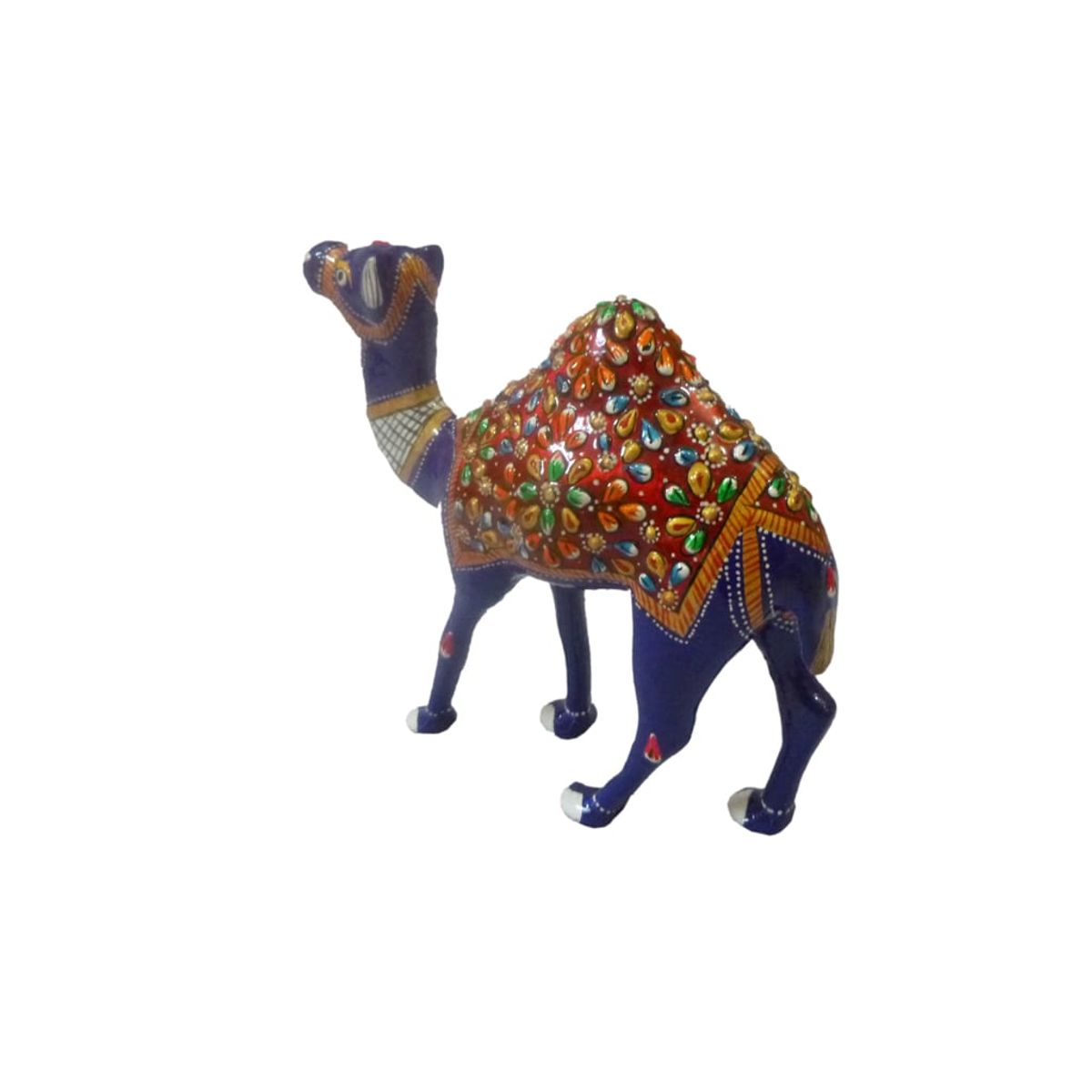 Craftofy Blue Colored Solid Camel With Brown Caparison
