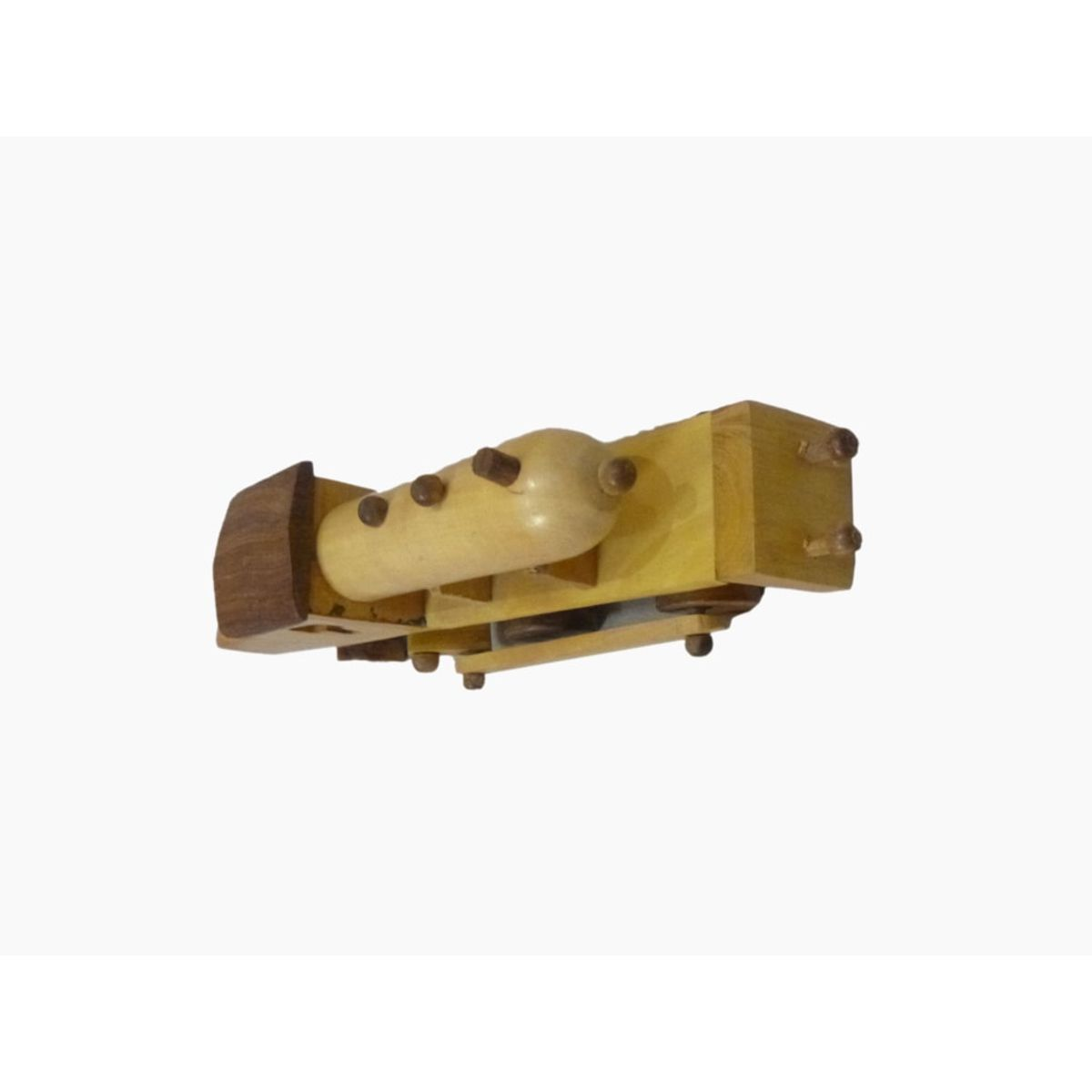 Craftofy Cream Colored Wooden Steam Type Train Engine With Wheels