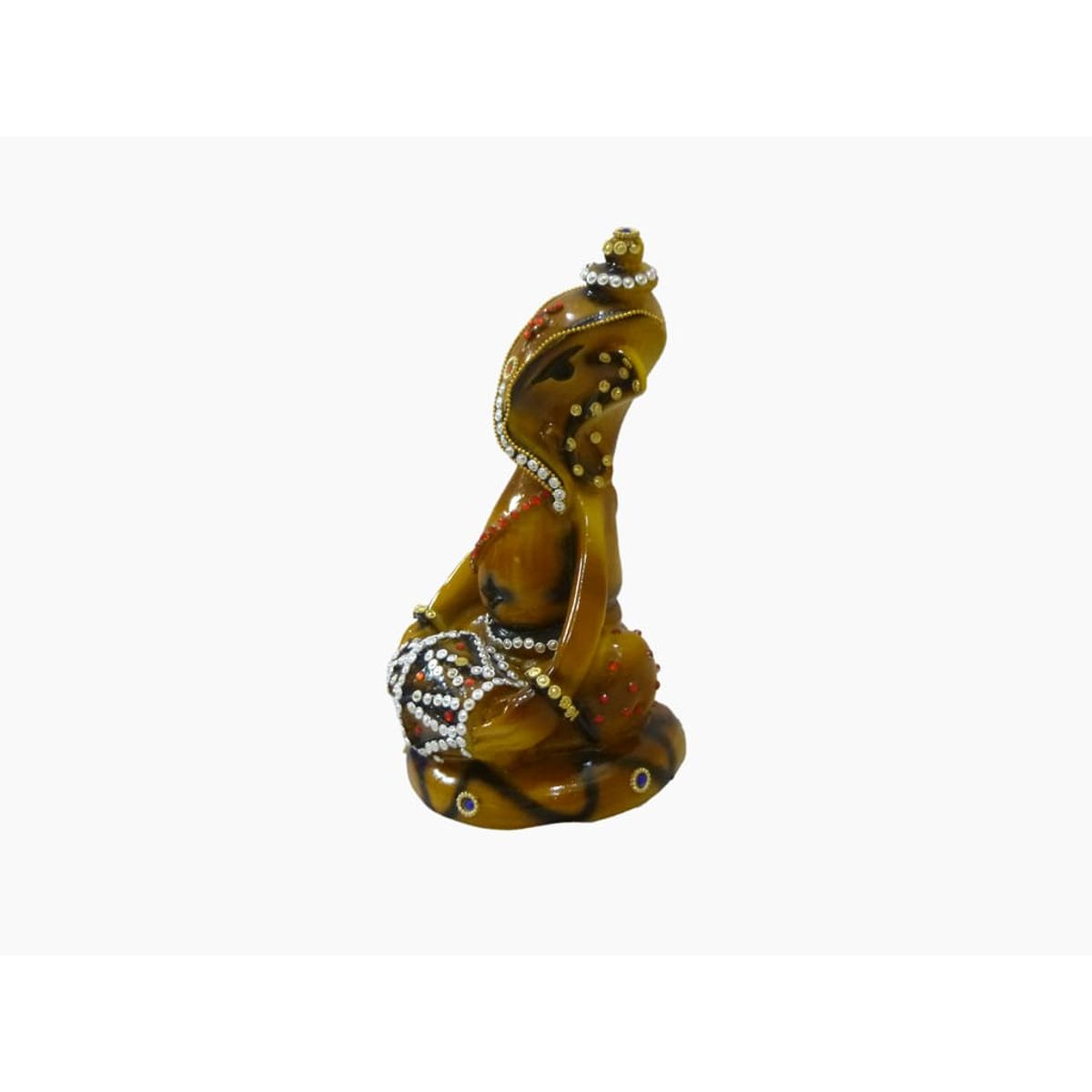 Craftofy Green Colored Ganesha Playing Dholak In His Hands
