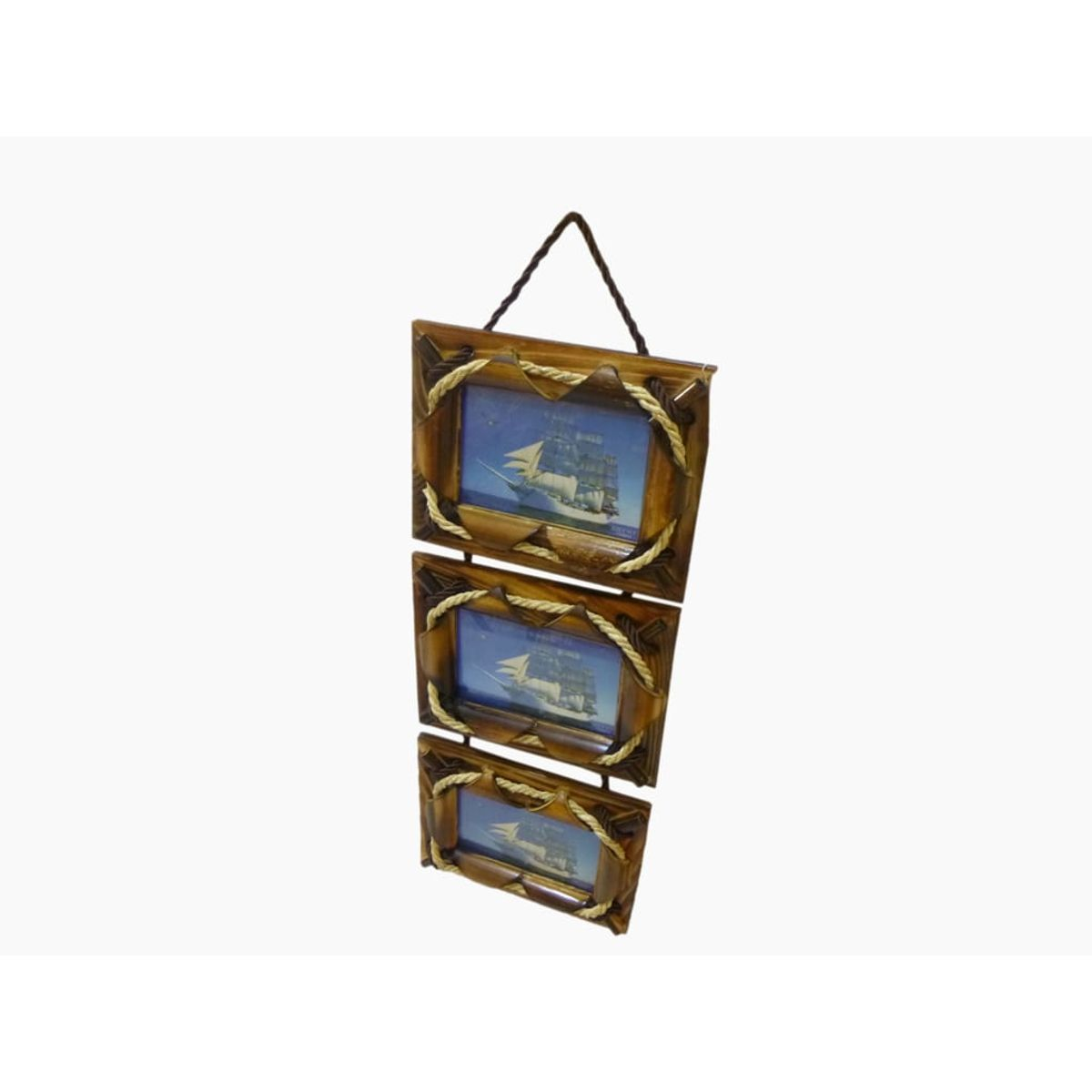 Craftofy Wall Hanging Photo Frame In A Set Of Three With Thin Rope