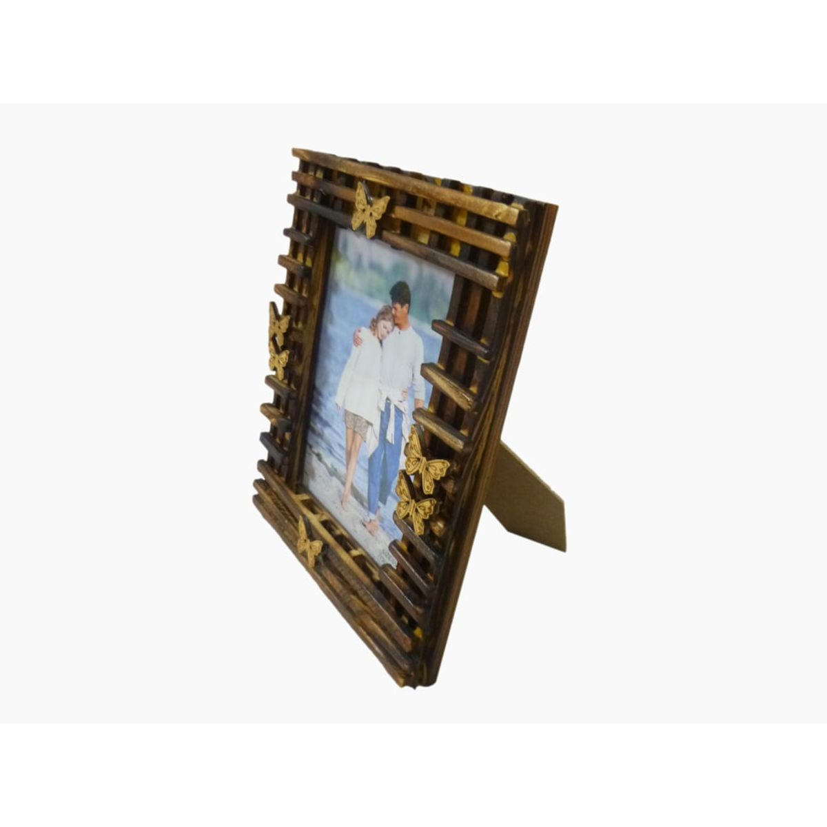 Craftofy Wooden Photo Frame With Butterflies On The Periphery