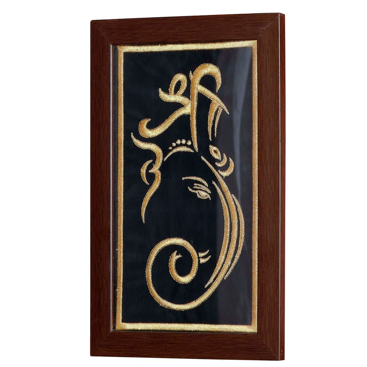 P K Ganesha Art Wall Hangings Frame Embroidered - Gold