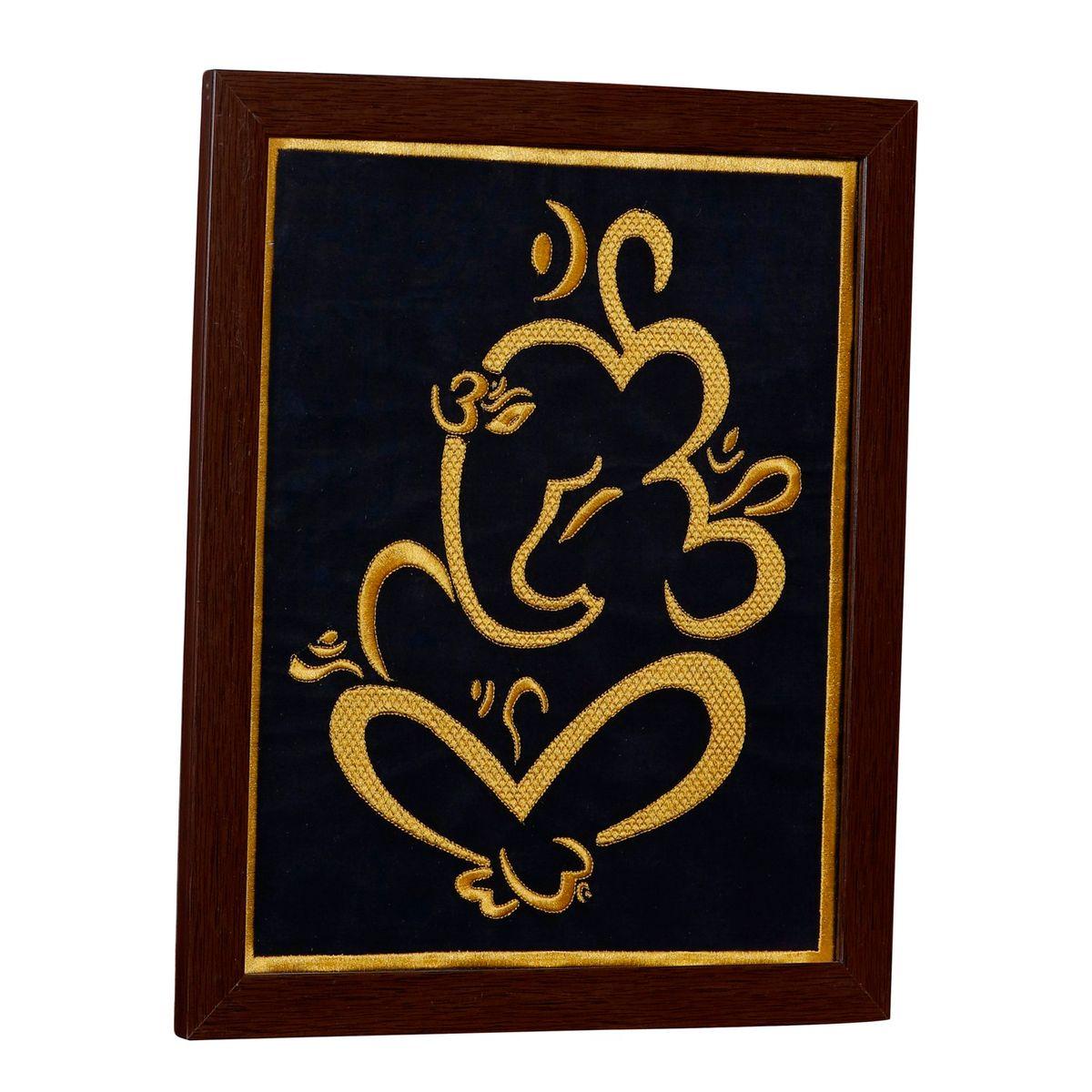 P K Ganesha Art Wall Hangings Frame Embroidered