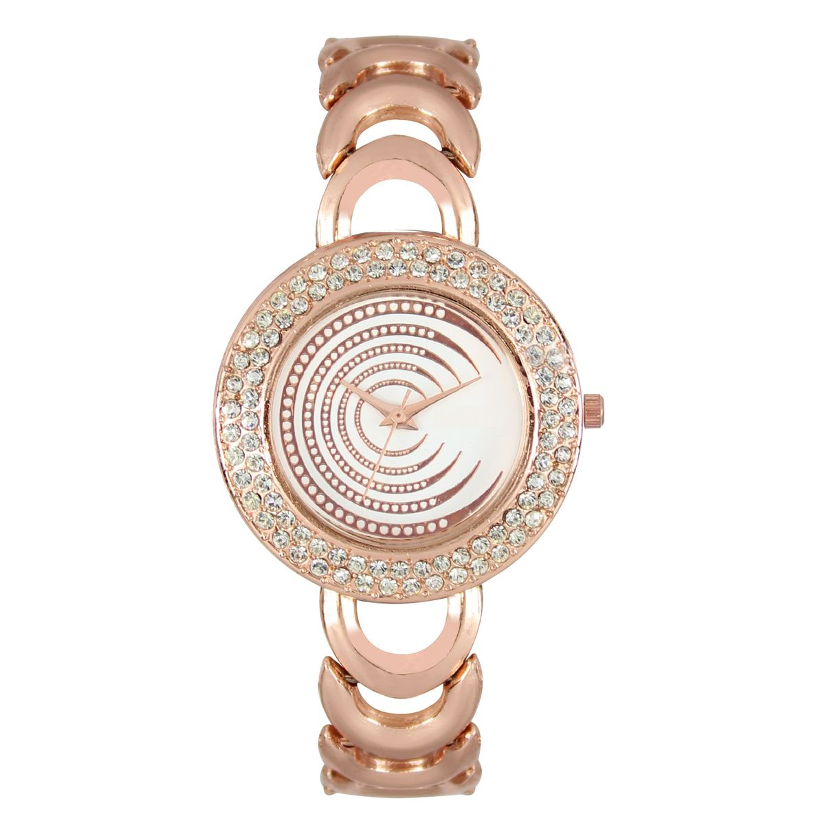 The Shopoholic Analog Diamond Gold Dial Gold Metal Strap Watches For Women-Watches For Girls In Fashion