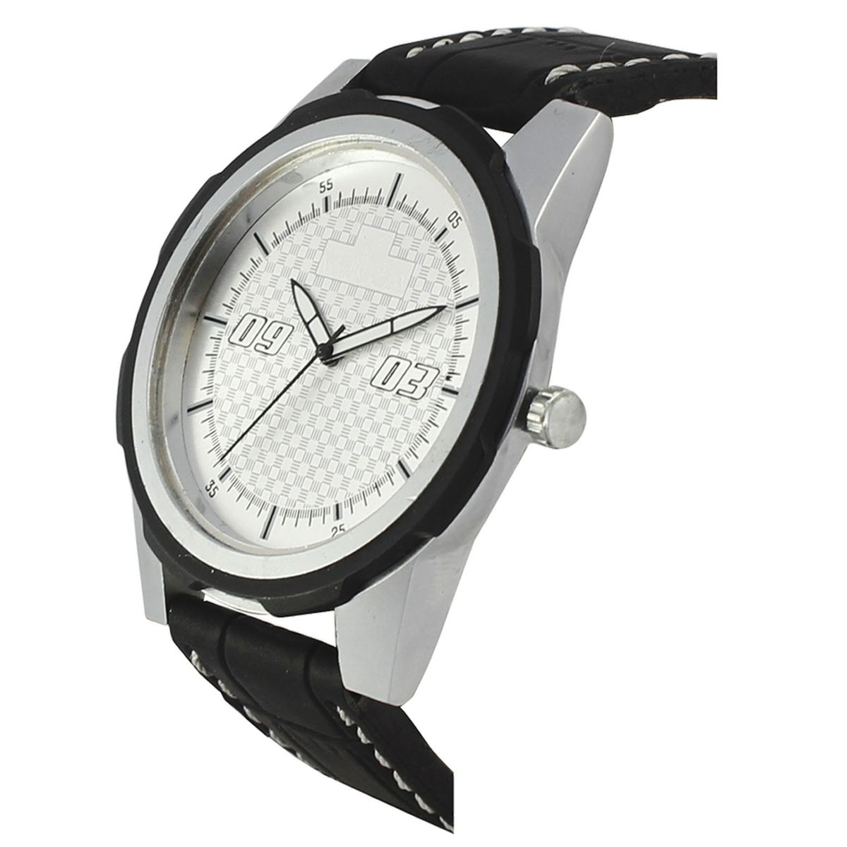 The Shopoholic Casual Analog Newest Arrival White Round Dial Black Leather Belt Watches For Boys-Men Watch