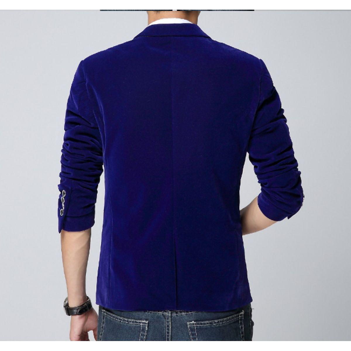 korean Attitude Blue Velvet Blazer