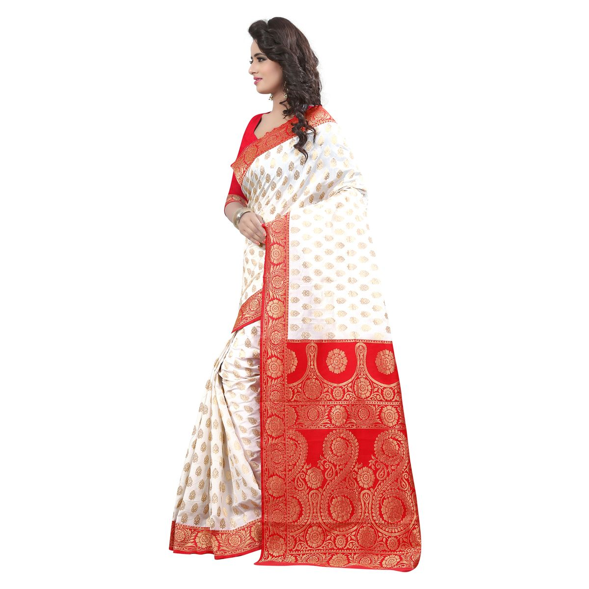 B4Best Creation Embellished Crepe Silk White and Red Color Saree for Women with Blouse Piece356